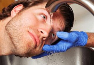 Промывании участков кожи