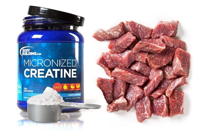 Креатин больше всего содержится в красном мясе