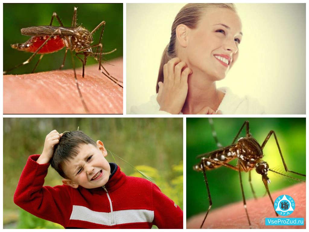 Женщина и ребенок укушенные комаром