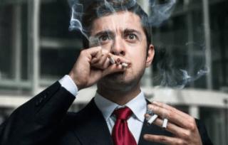 Выкуривание нескольких сигарет