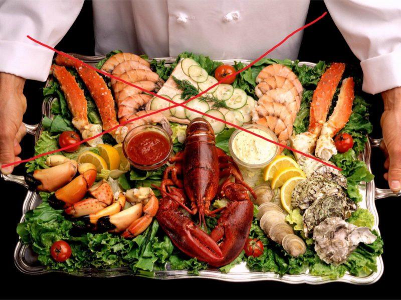 Не рекомендуется употреблять морепродукты, которые прошли копчение или сушение